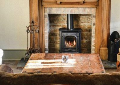 Greyhound Inn Hearth with Woodburner