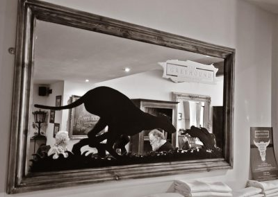 Greyhound Inn Mirror Black & White